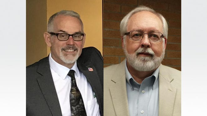 A recount conducted Thursday showed that Raisin Township Trustee Tom Hawkins, left, had defeated incumbent Supervisor Dale Witt for the Republican nomination to be township supervisor.