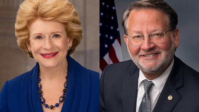 U.S. Sens. Debbie Stabenow, left, and Gary Peters, both Democrats from Michigan