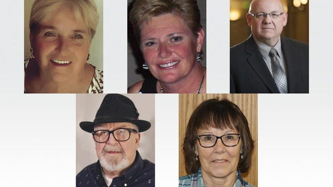 The five candidates running for the four trustee spots on the Raisin Township Board are, top row from left, Deb Brousseau, Kerry Hamilton-Smith and Jim Manley, and bottom row from left, Jim Palmer and Cheryl Witt.