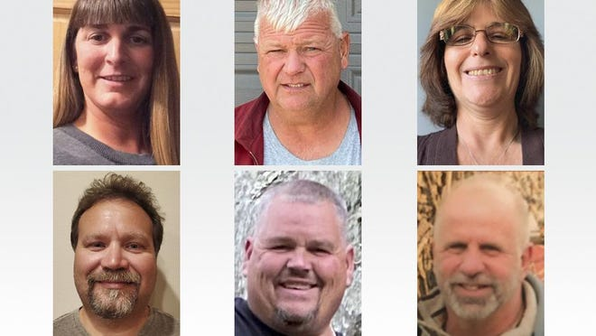 Candidates for the two trustee seats on the Deerfield Township Board are, top row from left, Amy Daniels, Randy Dusseau and Jamie Frank and, bottom row from left, Daniel J. Gilson II, Christopher Van Dyke and Daniel Witt.