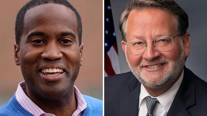 Republican John James, left, is running against Democratic U.S. Sen. Gary Peters.