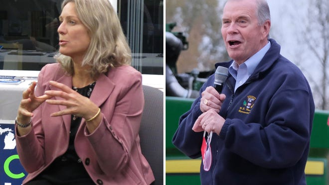 Democrat Gretchen Driskell, left, seen speaking at a campaign event in 2018 in Adrian, is running for the third time against U.S. Rep. Tim Walberg, R-Tipton, pictured speaking at a reelection rally for President Donald Trump on Oct. 20 in Maybee.