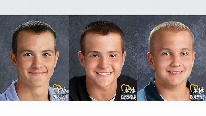 Forensic artists at the National Center for Missing & Exploited Children have created new age progression images to show what, from left, Andrew, Alexander and Tanner Skelton might look like today, at 19, 17, and 15 years old.