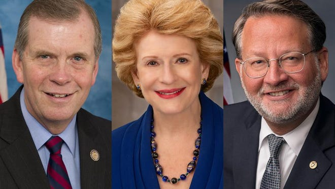 U.S. Rep. Tim Walberg, R-Tipton, left, voted against impeaching President Donald Trump on a charge that he incited insurrection Jan. 6 at the U.S. Capitol. Michigan's two U.S. senators, Debbie Stabenow, center, and Gary Peters, both Democrats, both are in favor of removing Trump from office.