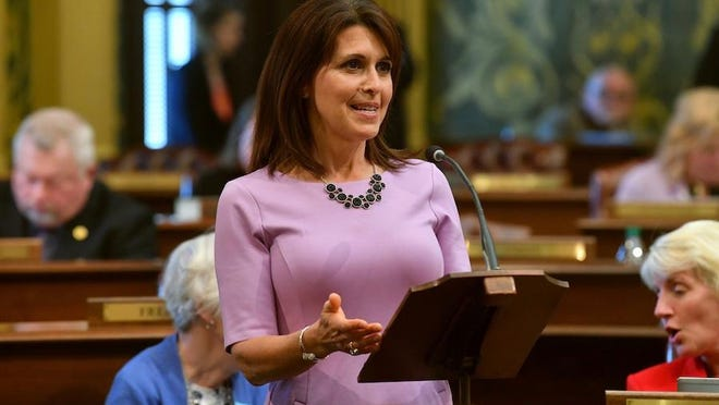 State Rep. Bronna Kahle, R-Adrian, presents a resolution designating June as Alzheimer's Awareness Month in 2019 on the floor of the Michigan House of Representatives. Kahle has been appointed chairwoman of the House Health Policy Committee.