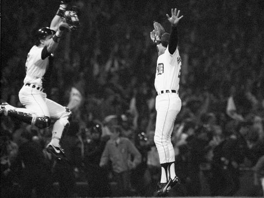 Catcher Lance Parrish (left) and reliever Willie Hernandez leap for joy after Hernandez recorded the final out in Game 5 of the 1984 World Series, which the Tigers won    Oct.14, 1984. Hernandez' recorded 32 saves, had a 1.92 ERA and was rewarded by being named both the American League's MVP and Cy Young Award winner.