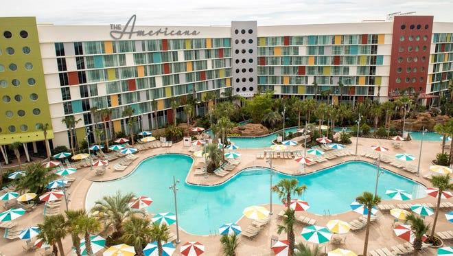 """Opened last summer as Universal's entry into the """"economy"""" accommodations market, Cabana Bay offers standard rooms and family suites with a retro theme."""