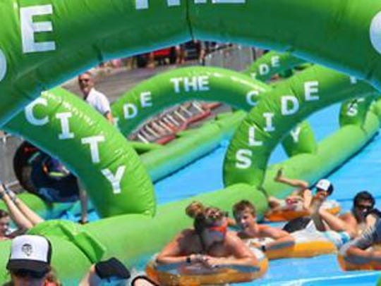 Slide The City, a giant water slide, was featured in