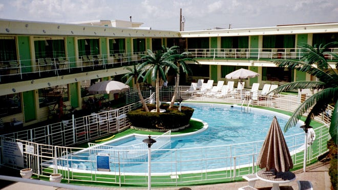 The pool area of the Caribbean Motel in Wildwood Crest is an example of Doo Wop architecture.