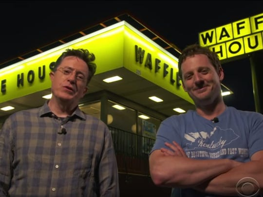 """Stephen Colbert, left, and Sturgill Simpson, taking a trip to Waffle House on an episode of  """"The Late Show."""""""