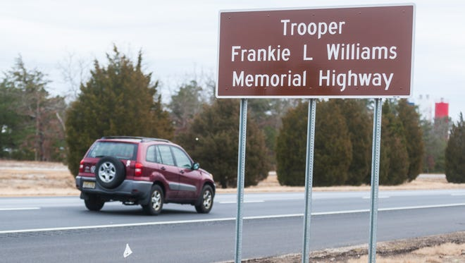 A sign memorializing the late Frankie L Williams, who died in an accident in December 2016, at Route 55 South on Tuesday, February 6.