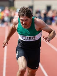 Gunnar Patz of Coleman High School finishes the D3