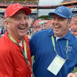AFC coach John Fox, left, and NFC coach Mike McCarthy shake hands after the 2013 Pro Bowl.