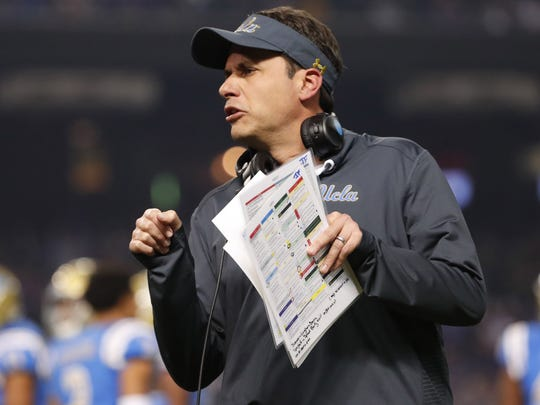 UCLA interim head coach Jedd Fisch coaches his team against Kansas State during the third quarter of the Cactus Bowl at Chase Field in Phoenix, Ariz. December 26, 2017.