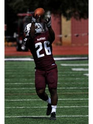 McMurry running back Wade Barthelemy Jr. catches a
