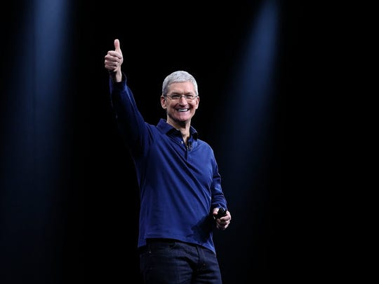 Apple CEO Tim Cook delivers the keynote address during