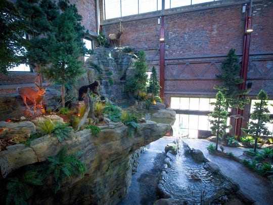 A realistic indoor water fall is part of the Michigan