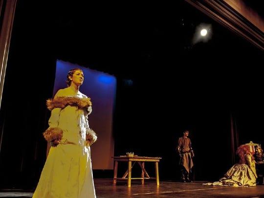 "Julia Garlotte as Cordelia with Dax Anderson as Kent, Kennikki Jones-Jones as Regan and Peter Knox as King Lear in Shakespeare in Detroit's staging of ""King Lear."""