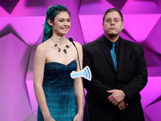 Transgender activist and actress Nicole Maines, left, and her father, Wayne Maines, were litigants in a 2014 Maine Supreme Court case that resulted in expanded rights for trans people.