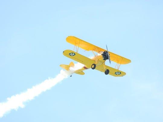 A Stearman aircraft takes flight during the Pensacola