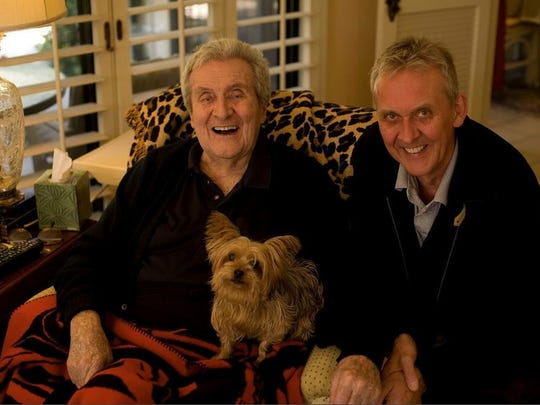 """Dylan fan Rupert Macnee of Lincoln, Nebraska, (left) with his father, the late Rancho Mirage resident, Patrick Macnee, who played Sir Nigel in Rob Reiner's mockumentary film, """"This Is Spinal Tap!"""""""