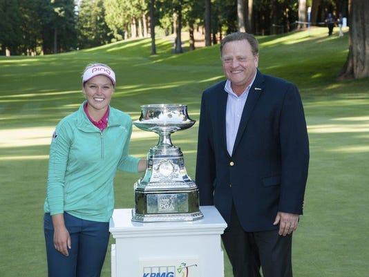 Paul Levy with Women's PGA Championship winner Brooke Henderson.