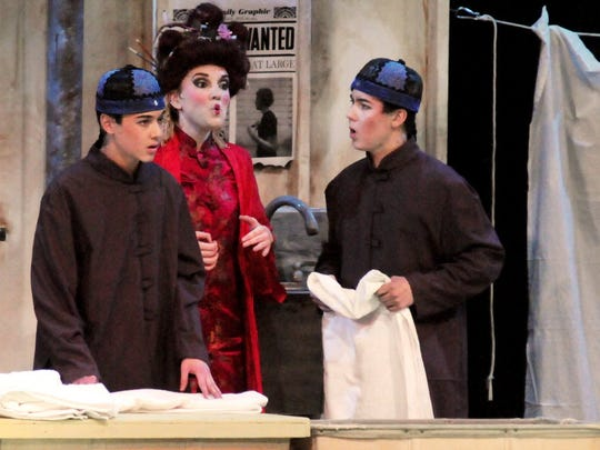 """From left, Eric Sebek, Maggie Spector-Williams and Zachary Sebek perform in Nutley High School's """"Thoroughly Modern Millie"""" in 2016."""