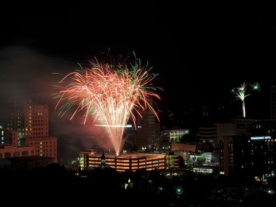 Fireworks are set off over downtown Asheville on July