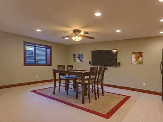 The lower level includes dining space at 42062 Stearns County Road 1 in Rice.