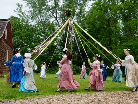Maypole dancers celebrate May Day, 2010