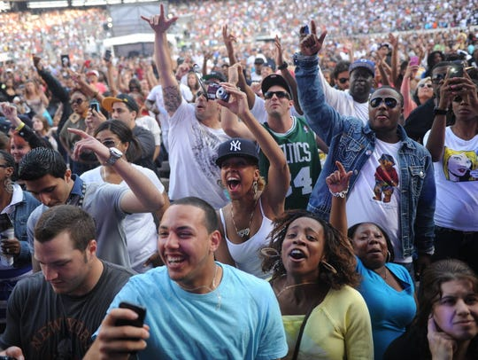 Hip Hop fans enjoy the music during the Hot 97 Summer