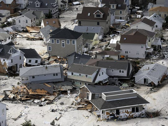 This aerial photo shows destroyed homes left in the wake of superstorm Sandy on  Oct. 31, 2012 in Seaside Heights.