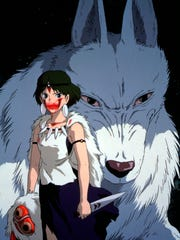 Princess Mononoke, a girl raised by wolves who protects