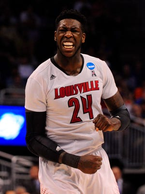 Louisville Cardinals forward Montrezl Harrell (24) reacts in the second half of a men's college basketball game against the Saint Louis Billikens during the third round of the 2014 NCAA Tournament at Amway Center.