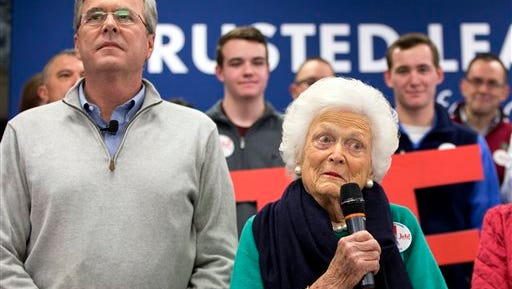 FILE - In this Feb. 4, 2016 file photo, Barbara Bush, mother of Republican presidential candidate, former Florida Gov. Jeb Bush, introduces her son at a town hall meeting in Derry, N.H. Eyebrows shot up when Srah Palin used a salty acronym, WTF, to mock the policies of President Barack Obama. How quaint. Five years later, Donald Trump has blown right past acronyms in a profanity-laced campaign for the Republican nomination that has seen multiple candidates hurl insults and disparaging remarks at one another and their critics. Mrs. Bush recently complained that her son was too polite.