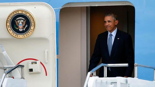 President Barack Obama arrives on Air Force One at Peterson Air Force Base, in Colorado Springs, Colo., Wednesday, June 1, 2016. Obama arrived in Colorado ahead of his Thursday, June 2 commencement speech at the Air Force Academy graduation. (AP Photo/Brennan Linsley)