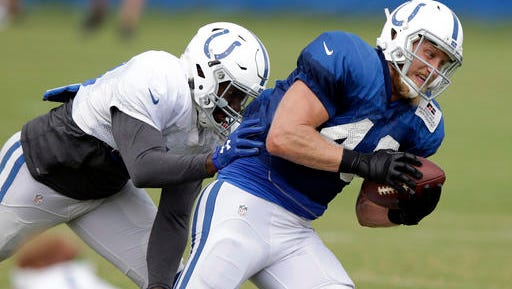 Indianapolis Colts linebacker Amarlo Herrera, left, defends tight end Konrad Reuland by during the NFL team's football training camp in Anderson, Ind., Wednesday, Aug. 10, 2016. (AP Photo/Michael Conroy)
