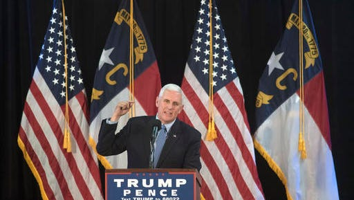 FILE - In this Oct. 18, 2016 file photo, Republican vice presidential candidate, Indiana Gov. Mike Pence speaks in Wilmington, N.C. It's become a familiar routine for Pence. Republican presidential nominee Donald Trump says something headline-grabbing, dubious or outright false, and his mild-mannered running mate sets out to refashion the boss's argument. It's happening again this week with the campaign's most fundamental question: Whether Trump would accept the legitimacy of election results that make Democrat Hillary Clinton president-elect. (AP Photo/Mike Spencer, File)