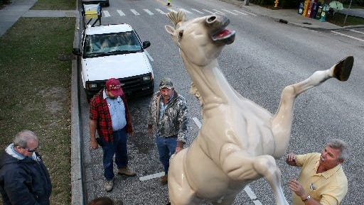 Patriot was returned to Pocohantas Park after the sculpture was refurbished in 2009.