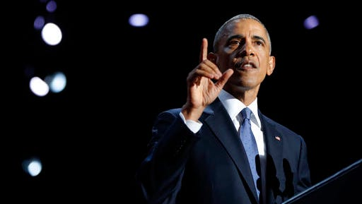President Barack Obama speaks during his farewell address at McCormick Place in Chicago on Jan. 10, 2017.