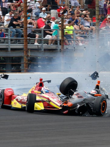 No IndyCars went airborne in crashes during Sunday's