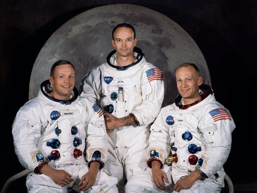 The team that set out for the Apollo 11 mission in 1969: from left, Neil Armstrong, Michael Collins and Buzz Aldrin.
