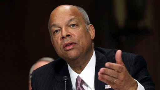 FILE - In this April 28, 2015, file photo, Homeland Security Secretary Jeh Johnson testifies on Capitol Hill in Washington, before the Senate Judiciary Committee on oversight of the department. Johnson on Monday, June 1, 2015, directed the Transportation Security Administration to revise airport security procedures, retrain officers and retest screening equipment in airports across the country. (AP Photo/Lauren Victoria Burke, File)