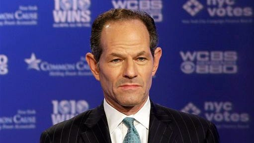 Ex-Gov. Eliot Spitzer participates in a 2013 primary debate for New York City comptroller.