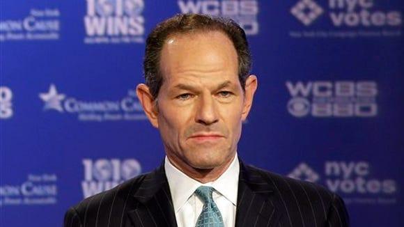 Ex-Gov. Eliot Spitzer participates in a 2013 primary debate for New York City comptroller.