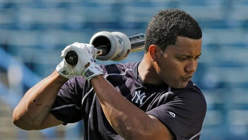 New York Yankees' Starlin Castro swings before taking batting practice before a spring training baseball game against the Toronto Blue Jays Wednesday, March 16, 2016, in Tampa, Fla.