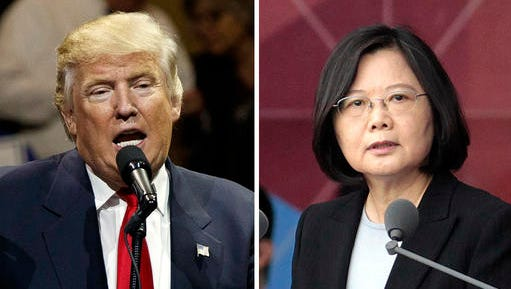 """FILE - This combination of two photos shows U.S. President-elect Donald Trump, left, speaking during a """"USA Thank You"""" tour event in Cincinatti Thursday, Dec. 1, 2016, and Taiwan's President Tsai Ing-wen, delivering a speech during National Day celebrations in Taipei, Taiwan, Monday, Oct. 10, 2016. Trump spoke Friday, Dec. 2, with Tsai, a move that will be sure to anger China."""