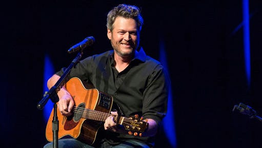 FILE - This June 7, 2016 file photo shows Blake Shelton performing at the 12th Annual Stars for Second Harvest Benefit at Ryman Auditorium in Nashville, Tenn. Shelton will be the face behind two new music venues in Tennessee and Oklahoma owned by Ryman Hospitality Properties. At a press conference Thursday, Jan. 5, 2017, in Nashville, Shelton and Colin Reed, the CEO of Ryman Hospitality Properties, announced details about Ole Red Nashville and Ole Red Tishomingo, in the Oklahoma town where Shelton lives.