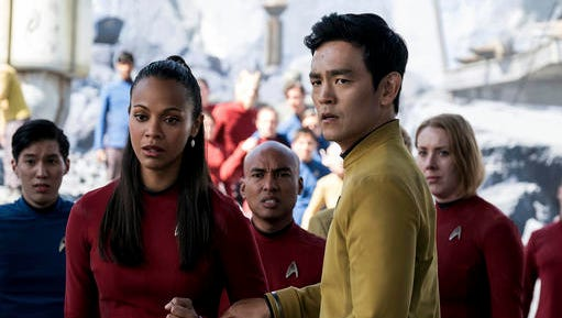 """In this image released by Paramount Pictures, Zoe Saldana, left, as Uhura and John Cho as Sulu appear in a scene from, """"Star Trek Beyond."""" The GLAAD Media Awards found """"Moonlight"""" and """"Star Trek Beyond"""" the only major films worthy of nominations this year. In announcing the nods Tuesday, Jan. 31, 2017, GLAAD said that's the fewest nods for gay-inclusive, widely released movies since 2003."""