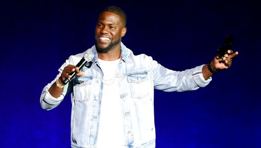 "FILE - In this April 13, 2016 file photo, actor-comedian Kevin Hart, star of the upcoming film ""What Now?,"" addresses the audience during the Universal Pictures presentation at CinemaCon 2016 in Las Vegas. Hart and radio host Charlamagne Tha God will make a joint appearance at this year's BookCon, on June 4, 2017, to promote Hart's memoir ""I Can't Make This Up"" out June 6 and Charlamagne Tha God's ""Black Privilege: Opportunity Comes to Those Who Create It"" which was released this week."